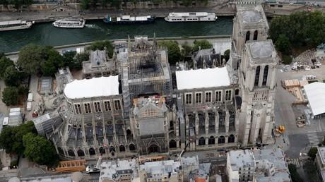 Notre-Dame de Paris, trois mois après l'incendie, le 14 juillet 2019.