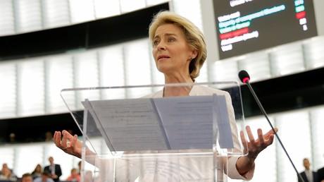 Ursula von der Leyen, le 16 juillet 2019 au parlement européen de Strasbourg.