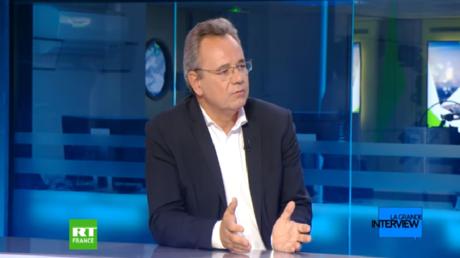 Frédéric Pierucci sur le plateau de RT France, le 16 juillet 2019, à Boulogne-Billancourt.