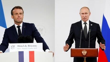 Emmanuel Macron et Vladimir Poutine (images d'illustration)