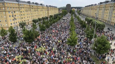 Manifestation organisée pour soutenir les employés du géant américain General Electric (GE) à Belfort, dans l'est de la France, à Belfort le 22 juin 2019 (illustration).