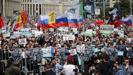 L'opposition russe manifeste à Moscou, le 20 juillet 2019, en Russie.