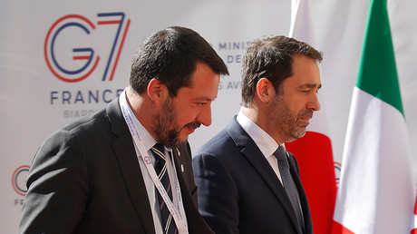 Matteo Salvini et Christophe Castaner le 4 avril 2019 au G7 de Paris (image d'illustration).