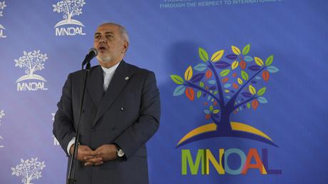 Le ministre des Affaires étrangère iranien, Javad Zarif, lors de sa conférence de presse durant la réunion ministérielle du Mouvement des non-alignés, à Caracas, le 20 juillet 2019, au Venezuela.