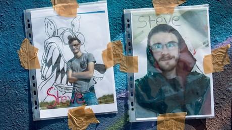 Des photos d'hommage à Steve Maia Caniço, disparu dans la nuit du 21 au 22 juin à Nantes en pleine Fête de la musique, sur un mur de Nantes, le 25 juin 2019 (image d'illustration).
