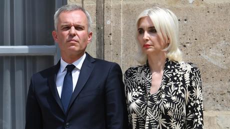 François de Rugy et son épouse le 17 juillet lors de la passation de pouvoir du ministère de la Transition écologique, à Paris (image d'illustration).