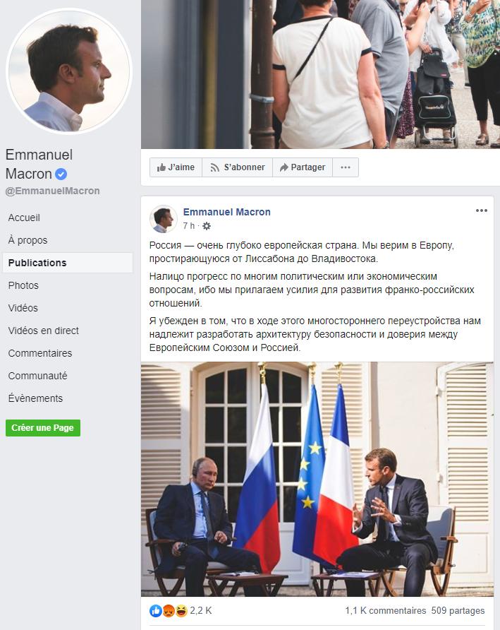 En russe, Macron réitère sur Facebook son souhait d'approfondir les relations entre Paris et Moscou