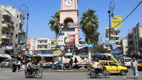 Le centre de la ville d'Idleb en Syrie, contrôlée par Hayat Tahrir al-Cham (ex-al-Qaïda, en août 2019).