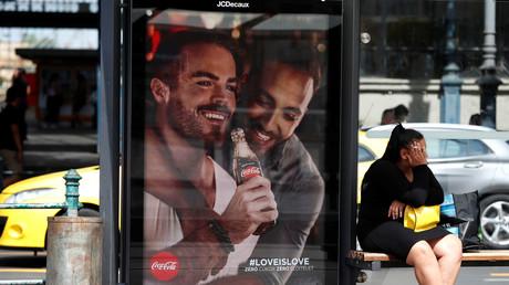 Un panneau publicitaire de Coca-Cola à Budapest.