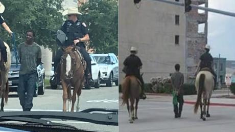 Les clichés de Donald Nelly alors qu'il est convoyé par la police, à Galveston, au Texas.