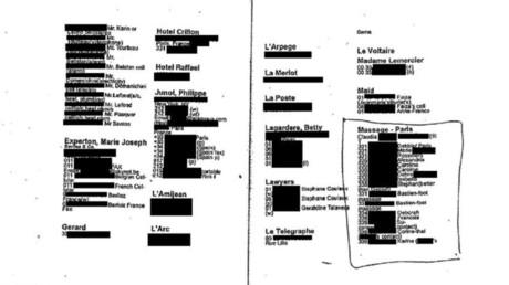 Capture d'écran de la 70e page du carnet noir de Jeffrey Epstein, subtilisé il y a plusieurs années par le majordome du milliardaire.