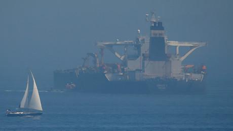 Le pétrolier iranien Grace 1 ancré après sa saisie en juillet par des Royal Marines britanniques au large de Gibraltar, sud de l'Espagne, le 14 août 2019.