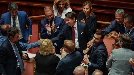 Le président du Conseil Giuseppe Conte au Sénat, après l'annonce de sa démission, le 20 août.