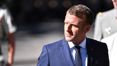 Le président français Emmanuel Macron lors du 75e anniversaire du débarquement des Alliés en Provence pendant la Seconde Guerre mondiale à Saint-Raphaël, le 15 août 2019.