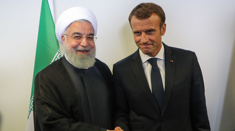 Le président iranien Hassan Rohani et son homologue français Emmanuel Macron lors d'une rencontre à New york le 25 septembre 2018, en marge de l'Assemblée générale de l'ONU (image d'illustration).