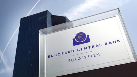 Siège de la Banque centrale européenne à Francfort (Allemagne) photographié en juillet 2019. Depuis juin 2014, le régulateur de la zone eruo applique un taux négatif (actuellement - 0,40%)aux banques qui lui confient temporairement des fonds en excédents(illustration).