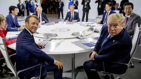 Le président français Emmanuel Macron et son homologue américain Donald Trump à la table du G7, le 25 août.