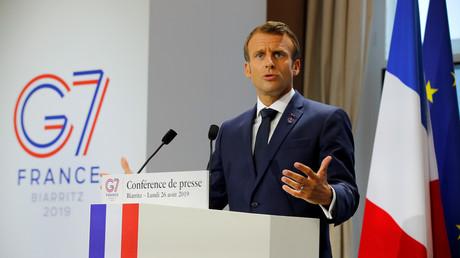 Emmanuel Macron lors de la conférence de presse de clôture du G7 à Biarritz