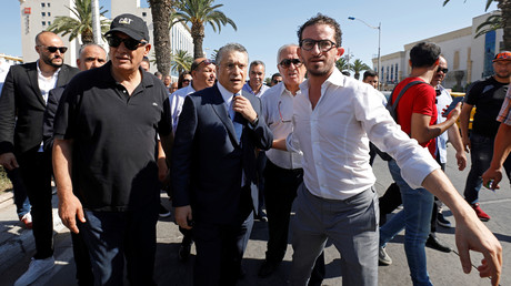 Nabil Karoui, à son arrivée au pôle judiciaire financier et économique à Tunis, en Tunisie, le 12 juillet 2019.