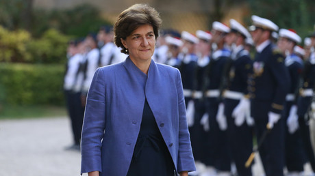 Sylvie Goulard lors de la passation de pouvoir après son court passage à l'hôtel de Brienne, le 21 juin 2017 à Paris (image d'illustration).
