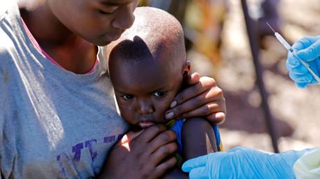 Un enfant se fait vacciner contre Ebola à Goma, le 5 août 2019.