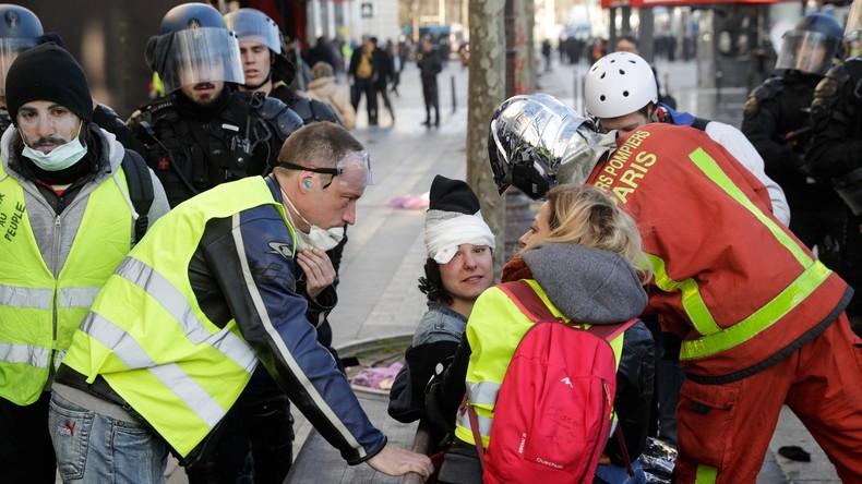 Les «mutilations des manifestants, marque indélébile du quinquennat Macron», selon Marine Le Pen 5d75045b488c7b54338b4567