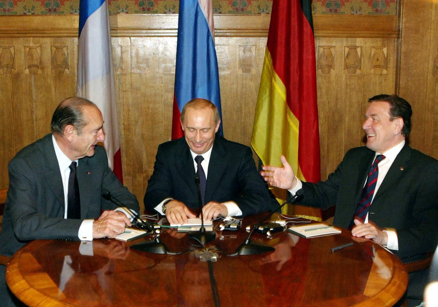 Chirac, Poutine et Schröder : le trio européen des années 2000