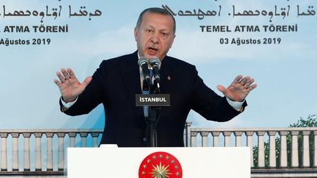 Le président turc s'adresse à l'église orthodoxe syriaque d'Istanbul, le 3 août 2019 (image d'illustration).