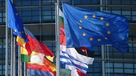 Drapeaux de l'Union européenne et des Etats devant le bâtiment du Parlement européen photographiés le 2 juillet 2019 à Strasbourg (illustration).