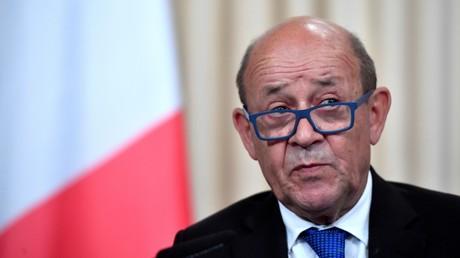 Jean-Yves Le Drian pendant sa conférence de presse du 9 septembre 2019 à Moscou.