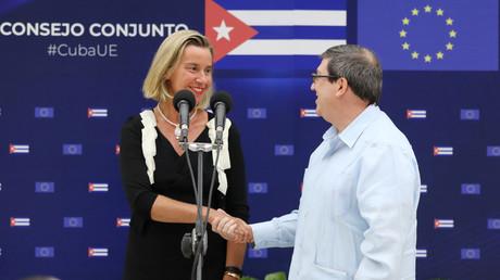Le chef de la politique étrangère de l'Union européenne, Federica Mogherini, et le ministre cubain des Affaires étrangères, Bruno Rodriguez, après une conférence de presse conjointe à La Havane, à Cuba, le 9 septembre 2019.