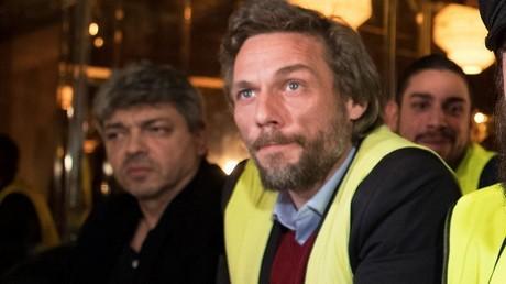 Thierry Paul Valette lors d'une conférence de presse au côté de Francis Lalanne en décembre 2018 à Paris.