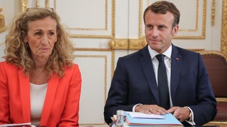 Nicole Belloubet et Emmanuel Macron lors du conseil des ministres des 4 septembre 2019, à l'Elysée, à Paris (image d'illustration).