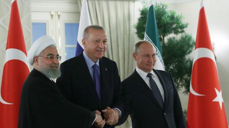 Hassan Rohani, Recep Tayyip Erdogan et Vladimir Poutine à Ankara le 16 septembre 2019.
