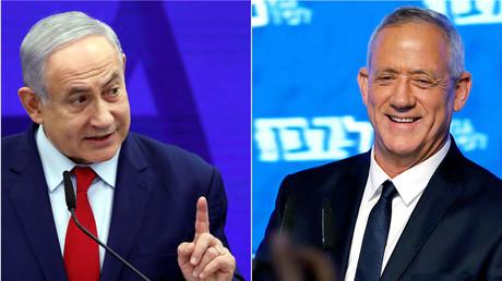 Le Premier ministre israélien Benjamin Netanyahou et Benny Gantz, président du parti bleu et blanc.
