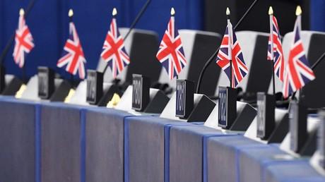 Des drapeaux du Royaume-Uni au Parlement européen à Strasbourg (image d'illustration).