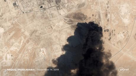 Une image satellite montrant l'attaque de drones sur une installation pétrolière d'Aramco, le 14 septembre 2019, en Arabie saoudite (image d'illustration).