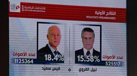 Kaïs Saïed (d) et Nabil Karoui (g), les deux candidats qualifiés pour le second tour de l'élection présidentielle tunisienne (image d'illustration)