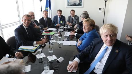 Emmanuel Macron rencontre la chancelière allemande Angela Merkel et le Premier ministre britannique Boris Johnson au siège de l'ONU à New York, le 23 septembre 2019.