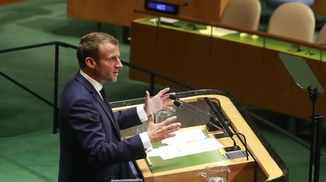 Emmanuel Macron, le 24 septembre 2019, à la tribune de l'Assemblée générale des Nations Unies.