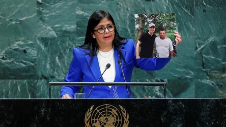 La vice-présidente du Venezuela Delcy Rodriguez à la tribune de l'Assemblée générale des Nations Unies, le 27 septembre 2019.
