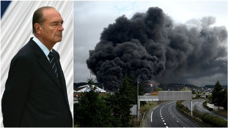 Photomontage : gauche : Jacques Chirac le  10 mai 2006 / droite : Rouen, le 26 septembre 2019.