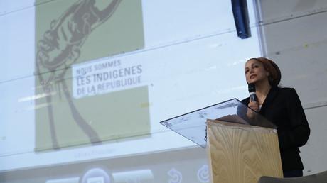 Houria Bouteldja, lors du dixième anniversaire du PIR à Saint-Denis, mai 2015 (image d'illustration).