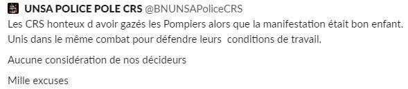 Confrontation entre pompiers et forces de l'ordre : un syndicat de CRS présente «mille excuses»