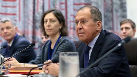 Le ministre russe des Affaires étrangères Sergueï Lavrov lors d'une réunion ministérielle des Cinq et de l'Iran sur le JCPOA dans le cadre de la 74e session de l'Assemblée générale des Nations unies (ONU) à New York, le 25 septembre 2019 (illustration).