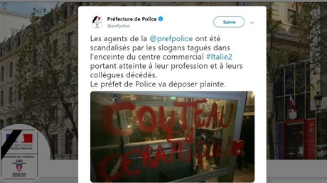 L'un des slogans découverts dans le centre commercial Italie 2 après son occupation par des militants écologistes d'Extinction Rebellion.