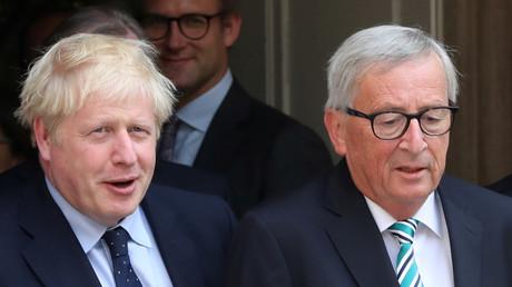Le Premier ministre britannique, Boris Johnson, et le président de la Commission européenne, Jean-Claude Juncker, au Luxembourg le 16 septembre 2019 (image d'illustration).