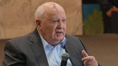 L'ancien président de l'URSS Mikhail Gorbatchev lors de la présentation de son livre Je reste un optimiste» à la Maison du livre de Moscou.
