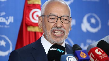 Le chef du parti tunisien d'obédience islamiste Ennahdha, Rached Ghannouchi, donne une conférence de presse à l'issue des élections législatives, le 6 octobre 2019.