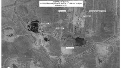 Photographie satellite du renseignement spatial russe prise le  8 septembre 2019, à 14 kilomètres à l'est de la ville de Mayadine, dans la province de Deir ez-Zor, en Syrie (image d'illustration).